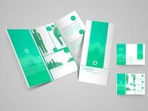 Professionelle dreifachgefaltete Broschüren-, Katalog- und Fliegerschablone für BU Stockbild