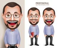 Professioneller alter Lehrer-Professor Man Vector Character, das Buch hält Stockfoto