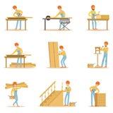 Professioneller hölzerner Jointer bei der Arbeit, die Holzmöbel und andere Bau-Element-Vektor-Illustrationen in Handarbeit macht Stockfotos