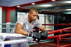 Professioneller junger Boxer, der auf den Seilen des Ringes nach dem Kampf stillsteht lizenzfreie stockbilder