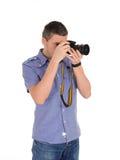 Professioneller männlicher Fotograf, der Foto macht Lizenzfreies Stockfoto