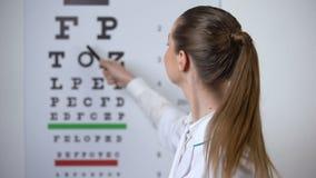 Professioneller weiblicher Optiker, der auf Sehtafel, fristgerechte Diagnose der Vision zeigt stock video
