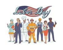 Professioni differenti della gente Festa del lavoro di festa nazionale Cartolina d'auguri con la bandiera americana Occ dell'illu Fotografie Stock