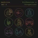 Professioni ed insieme dell'icona del profilo di occupazioni medico Linea piana Fotografie Stock Libere da Diritti