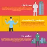 Professioni future fissate Occupazione futuristica Uomo con la cuffia avricolare di VR Realtà di Virtual del progettista per istr Fotografia Stock Libera da Diritti