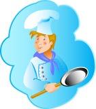 Professionin do cozinheiro uma frigideira Fotografia de Stock Royalty Free