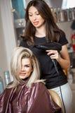 Professionista alla moda, parrucchiere che fa hairdoing al cliente con un fon sui precedenti del ` s del parrucchiere fotografia stock libera da diritti