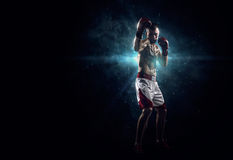 Professionl boxer in the dark Stock Image