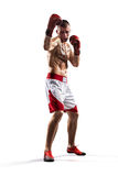Professionl boxer is isolated on white Stock Photo