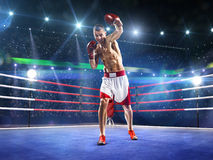 Professionl boxer is standing on the ring Stock Photos