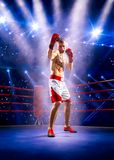 Professionl boxer is standing on the ring Royalty Free Stock Photos