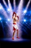 Professionl boxer is standing on the ring Royalty Free Stock Image