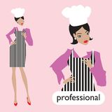 Professionl, female chef set. Royalty Free Stock Photography