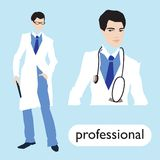 Professionl, male doctor  set. Royalty Free Stock Images