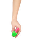 Professionnal make-up brush cosmetic in female hand beautician Stock Photo