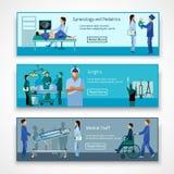 Professionnels médicaux aux bannières de travail réglées illustration de vecteur