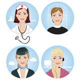 Professions. Set of four female professionals Royalty Free Stock Photo
