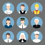Professions avatar flat icons set Royalty Free Stock Image