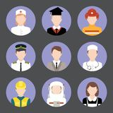Professions avatar flat icons set. Avatar business users flat icons set of graduate student engineer astronaut isolated vector illustration Stock Photos