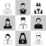 Professions avatar icons black set Stock Photography