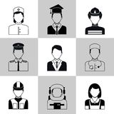 Professions avatar icons black set. Avatar social network pictograms set of maid firefighter construction worker manager isolated vector illustration Stock Image