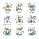 Professions Avatars Line Concept Stock Image
