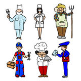 Professions cartoon color icons set Royalty Free Stock Photos