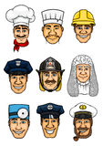 Professions cartoon icon set for occupation design. Profession set. Doctor and cook, policeman and fireman, builder, judge snf police officer, taxi driver and Royalty Free Stock Images