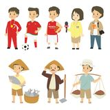 Professions Character Cartoon Vector Set. Set of different professions characters cartoon vector in flat style : athlete, football player, basketball player Royalty Free Stock Photo