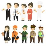 Professions Character in Different Uniform Cartoon Vector Set. Set of different professions characters cartoon vector in flat style : waiter, doctor, nurse Royalty Free Stock Photo