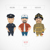 Professions characters collection. Cartoon flat design. Funny art Royalty Free Stock Photo