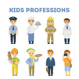 Professions for children. Firefighter and doctor, chief and artist and more Royalty Free Stock Photography
