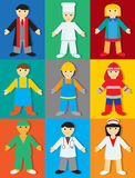 Professions with Colors & Shadows vector illustration