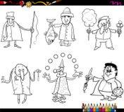 Professions de personnes colorant la page illustration de vecteur