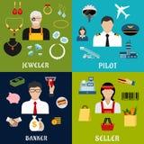 Professions de vendeur, de banquier, de pilote et de bijoutier illustration libre de droits