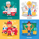 Professions 2x2 Design Concept. Professions for kids 2x2 flat design concept with doctor fireman teacher and worker cartoon square compositions vector Stock Photography