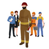 Professions firefighter man. Worker peoples team isolated vector illustration. Peoples different professions Royalty Free Stock Photography