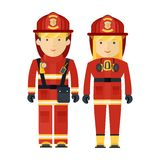 Professions firman and firewoman Royalty Free Stock Image