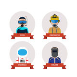 Professions flat icon set. Includes 4 characters Stock Images