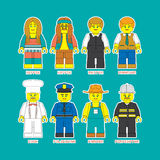 Professions-2. Flat set of people in different professions in constructor style. Convenient guide for children showing different profession Royalty Free Stock Photos