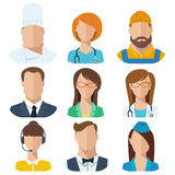 Professions flat vector characters. Male and female characters. Good for avatars Stock Images