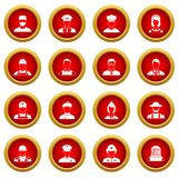 Professions icon red circle set Royalty Free Stock Images