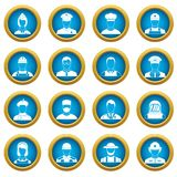 Professions icons blue circle set. Isolated on white for digital marketing Royalty Free Stock Photos