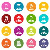 Professions icons many colors set. Isolated on white for digital marketing Royalty Free Stock Photos