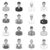 Professions icons set, black monochrome style Stock Photo