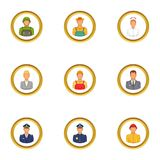 Professions icons set, cartoon style. Professions icons set. Cartoon set of 9 professions vector icons for web isolated on white background Stock Photo