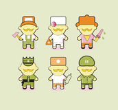 Professions icons set Industrial contractors workers people. Iso Royalty Free Stock Image