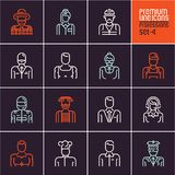 Professions icons set, people occupations, business, workers, employee, linear people icons isolated vectors. On black background Stock Photography