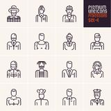 Professions icons set, people occupations, business, workers, employee. Linear people icons isolated vectors Stock Image