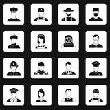 Professions icons set squares vector Royalty Free Stock Images